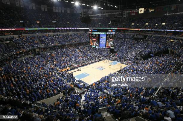 General view as a sold out crowd watches the game between the Memphis Tigers and Tennessee Volunteers at FedExForum on February 23 2008 in Memphis...
