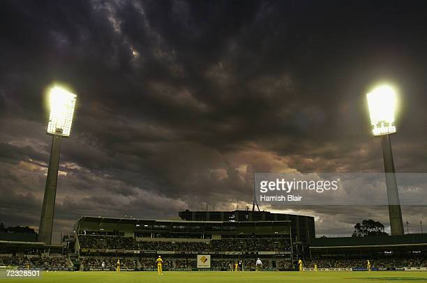 A general view as a storm blows in during the One Day International match between Australia and Sri Lanka held at the WACA ground in Perth Australia...