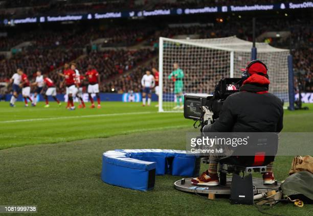 General view as a television tv camera films during the Premier League match between Tottenham Hotspur and Manchester United at Wembley Stadium on...