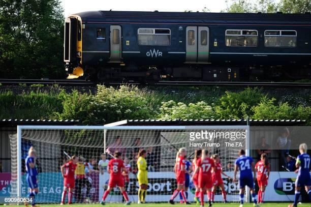 General view as a train goes past the ground during the WSL 1 match between Bristol City Women and Chelsea Ladies at Stoke Gifford Stadium on May 31,...