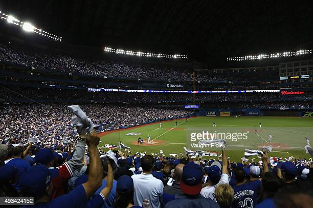 A general view as Aaron Sanchez of the Toronto Blue Jays throws a pitch in the seventh inning against the Kansas City Royals during game three of the...