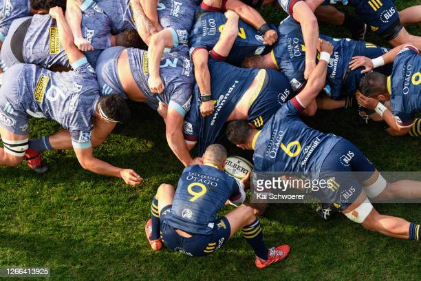 General view as Aaron Smith of the Highlanders looks to feed the scrum during the round 10 Super Rugby Aotearoa match between the Highlanders and the...