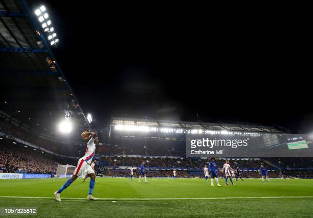General view as Aaron Wan-Bissaka of Crystal Palace takes a throw in during the Premier League match between Chelsea FC and Crystal Palace at...