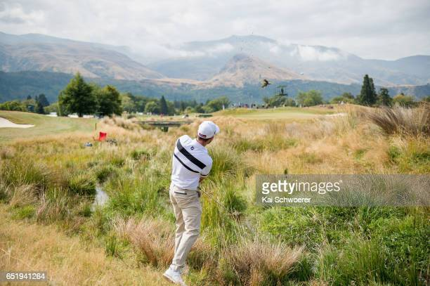 General view as Adam Burdett of Australia plays a shot during day three of the New Zealand Open at Millbrook Resort on March 11 2017 in Queenstown...