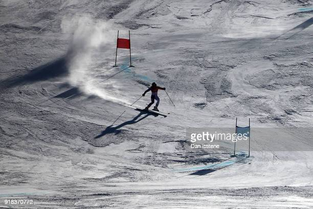 General view as Adeline Baud Mugnier of France competes during the Ladies' Giant Slalom on day six of the PyeongChang 2018 Winter Olympic Games at...