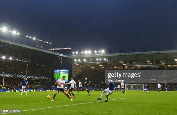 A general view as Ademola Lookman of Everton crosses the ball for Dominic CalvertLewin of Everton to score their second goal during the Premier...