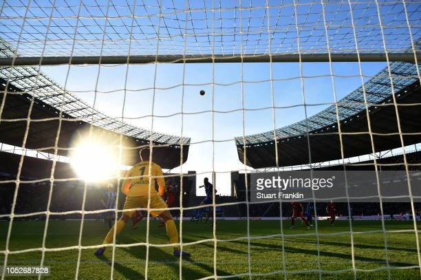 A general view as Alexander Schwolow of Freiburg guards his goal during the Bundesliga match between Hertha BSC and SportClub Freiburg at...