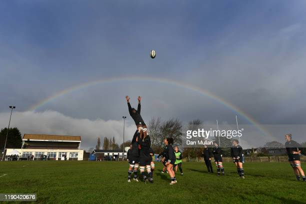 A general view as Alycia Washington of the Womens Barbarians rises to claim a lineout during Barbarians training on November 27 2019 in Penarth Wales