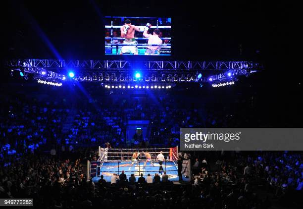 General view as Amir Khan fights Phil Lo Greco during their welterweight bout title fight at Echo Arena on April 21 2018 in Liverpool England