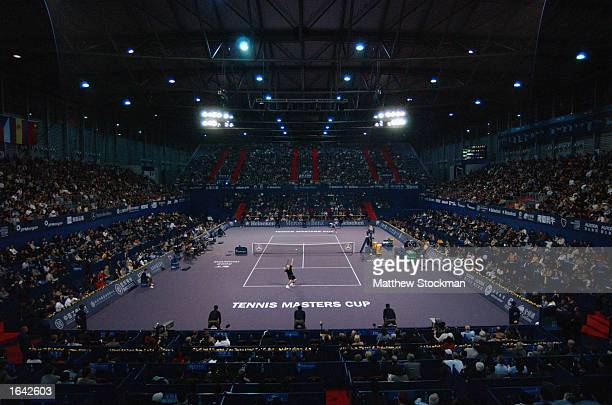 General view as Andrea Agassi of the United States plays Juan Carlos Ferrero of Spain in match two of round robin play November 14 2002 during the...