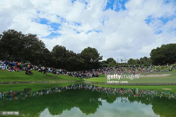 A general view as Andrew Johnston of England putts on the 17th green during the final round on day four of the Open de Espana at Real Club Valderrama...