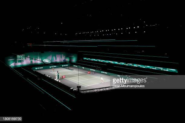 General view as Andrey Rublev of Russia plays against Andy Murray of Great Britain during Day 3 of the 48th ABN AMRO World Tennis Tournament at Ahoy...