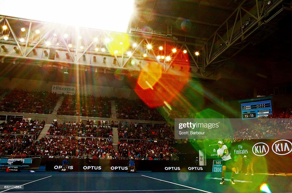 A general view as Andy Murray of Great Britain plays a backhand in his third round match against Sam Querrey of the United States on day five of the 2017 Australian Open at Melbourne Park on January 20, 2017 in Melbourne, Australia.