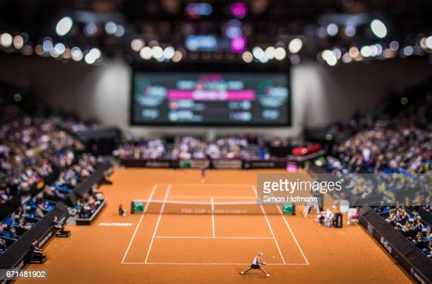A general view as Angelique Kerber of Germany returns the ball against Lesia Tsurenko of Ukraine during the FedCup World Group PlayOff Match between...