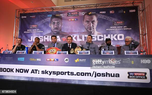 A general view as Anthony Joshua and Wladamir Klitschko take part in a press conference for their Super Heavyweight title fight at Sky Sports Studios...
