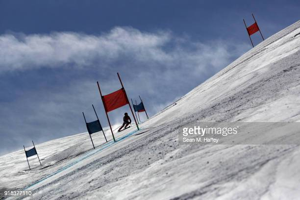 A general view as Arabella Caroline Yili Ng of Hong Kong China competes during the Ladies' Giant Slalom on day six of the PyeongChang 2018 Winter...