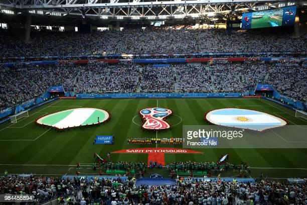 A general view as Argentina and Nigeria line up prior to the 2018 FIFA World Cup Russia group D match between Nigeria and Argentina at Saint...