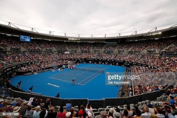 A general view as Ashleigh Barty of Australia competes in her Women's Singles Final match against Angelique Kerber of Germany during day seven of the...