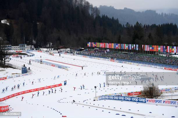 General view as athletes compete during the Men's Cross Country Skiathlon 15 km/15 km C/F at the FIS Nordic World Ski Championships Oberstdorf at...
