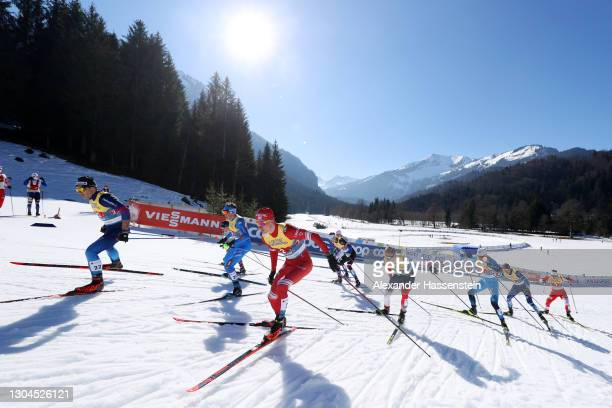 General view as athletes compete during the Men's Cross Country Team Sprint Finals at the FIS Nordic World Ski Championships Oberstdorf at...