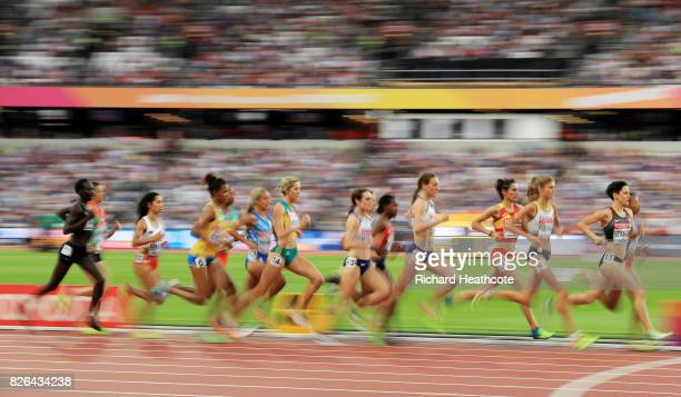 A general view as athletes compete during the womens 1500m heats during day one of the 16th IAAF World Athletics Championships London 2017 at The...