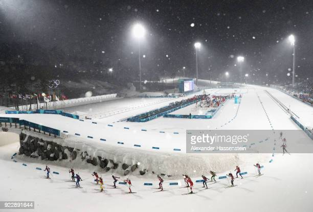 General view as athletes compete during the Women's 4x6km Relay on day 13 of the PyeongChang 2018 Winter Olympic Games at Alpensia Biathlon Centre on...