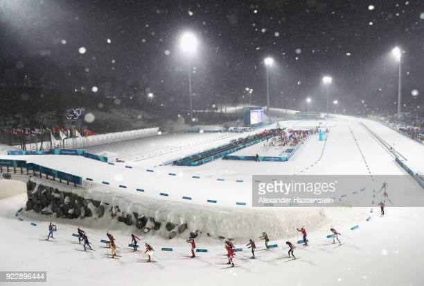 A general view as athletes compete during the Women's 4x6km Relay on day 13 of the PyeongChang 2018 Winter Olympic Games at Alpensia Biathlon Centre...