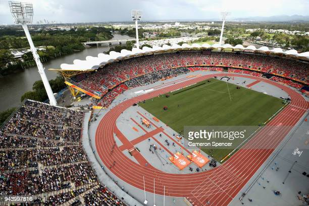 A general view as athletes compete in the Men's 200 metres heats during the Athletics on day six of the Gold Coast 2018 Commonwealth Games at Carrara...