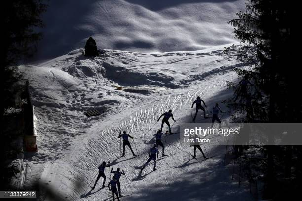 A general view as athletes compete in the Men's Cross Country 50k race during the FIS Nordic World Ski Championships on March 03 2019 in Seefeld...