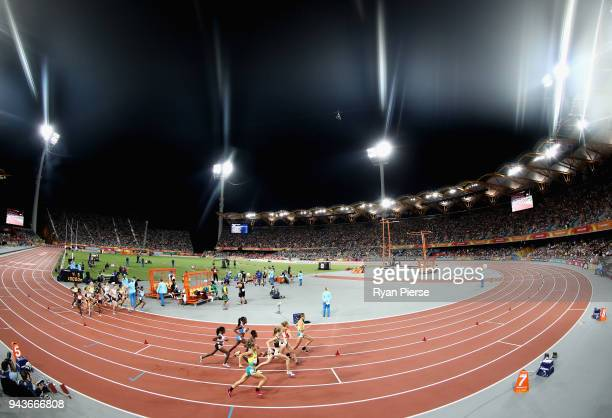 A general view as athletes compete in the Women's 10000 metres final during the Athletics on day five of the Gold Coast 2018 Commonwealth Games at...