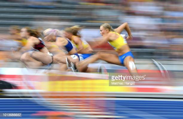 A general view as athletes compete in the Women's Heptathlon 100m Hurdles during day three of the 24th European Athletics Championships at...