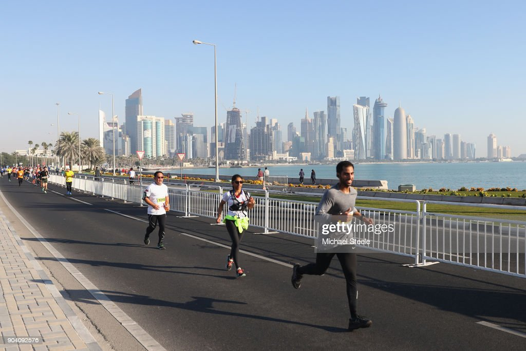 General view as athletes head along Al Corniche. The Ooredoo Doha Marathon is Qatar's largest mass-participation sports event with 2,400 athletes representing 83 countries. The sixth edition included elite athletes competing for prize money of $50,000 in half marathon distance on a 10km loop route along La Corniche on January 12, 2018 in Doha, Qatar.