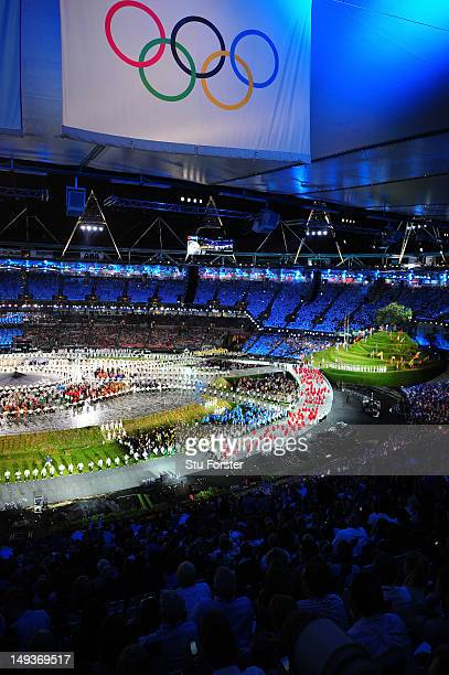 General View as athletes parade during the Opening Ceremony of the London 2012 Olympic Games at the Olympic Stadium on July 27 2012 in London England