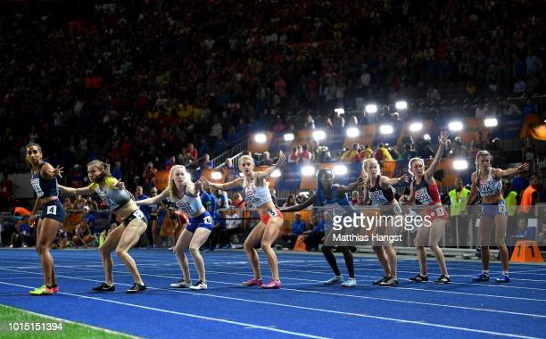 A general view as athletes prepare to be handed the baton in the Women's 4 x 400m Relay Final during day five of the 24th European Athletics...