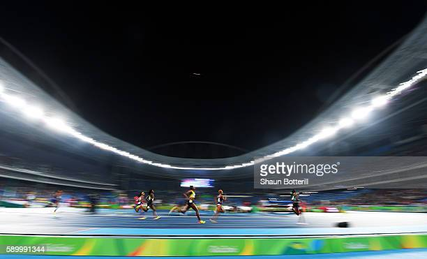 A general view as athletes run in the in the Women's 400m final on Day 10 of the Rio 2016 Olympic Games at the Olympic Stadium on August 15 2016 in...