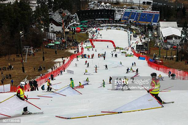 A general view as Atle Skardal FIS director has decided to cancel the race because of the bad weather conditions during the Audi FIS Alpine Ski World...