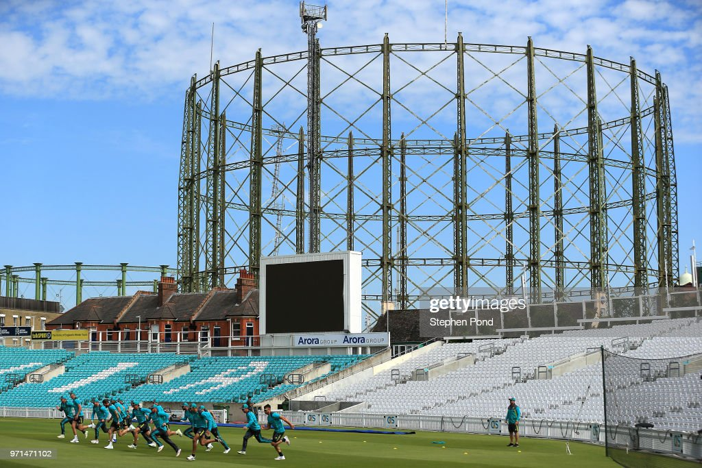 A general view as Australia players train during an Australia Net Session at The Kia Oval on June 11, 2018 in London, England.