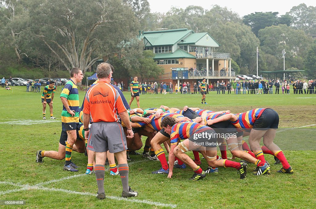 A general view as Australian Wallabies coach Ewen McKenzie (unseen) attends St Kevin's College to watch the St. Kevin's College v Scotch College rugby match on June 14, 2014 in Melbourne, Australia.