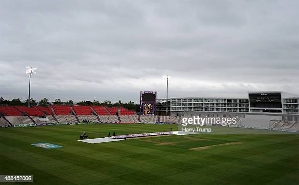 General view as bad light delays play during the LV County Championship match between Hampshire and Yorkshire at Ageas Bowl on September 16 2015 in...