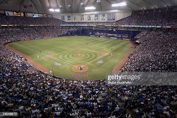 General View as Baltimore Orioles play against the Minnesota Twins at the Humphrey Metrodome in Minneapolis, Minnesota on April 2, 2007. The Twins...