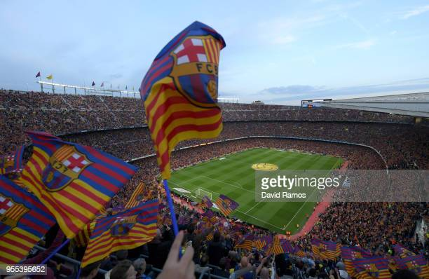 General view as Barcelona fans show their support prior to the La Liga match between Barcelona and Real Madrid at Camp Nou on May 6, 2018 in...
