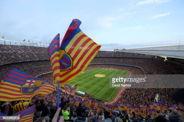 A general view as Barcelona fans show their support prior to the La Liga match between Barcelona and Real Madrid at Camp Nou on May 6 2018 in...