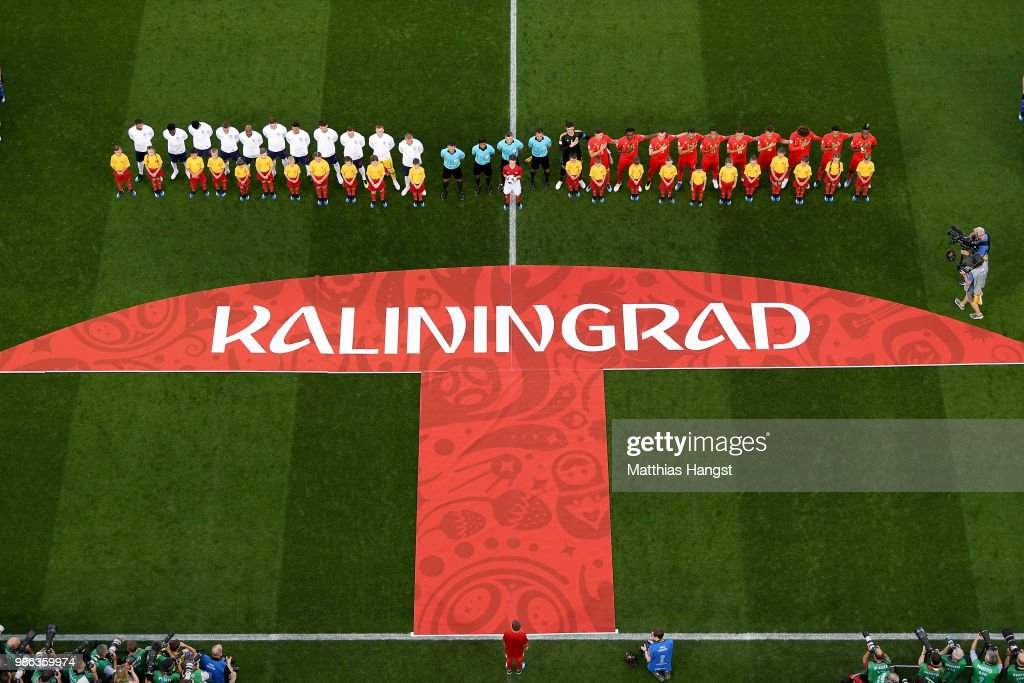 General View As Belgium And England Players Line Up For National News Photo Getty Images