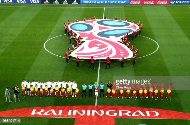 General view as Belgium and England players line up for national anthems prior to the 2018 FIFA World Cup Russia group G match between England and...