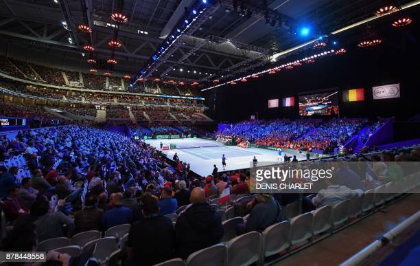 A general view as Belgium's David Goffin and France's Lucas Pouille switch sides during the Davis Cup World Group singles rubber final tennis match...