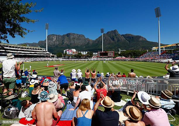 A general view as Ben Stokes and Jonny Bairstow of England score runs during day two of the 2nd Test at Newlands Stadium on January 3 2016 in Cape...
