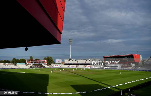 A general view as Ben Stokes of England takes the wicket of Mohammad Rizwan of Pakistan during Day Three of the 1st #RaiseTheBat Test Match between...