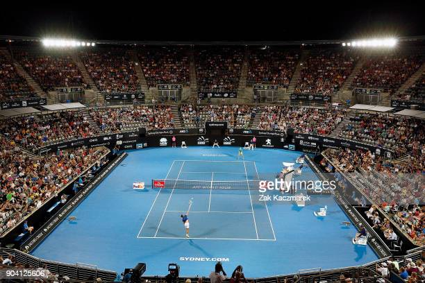 A general view as Benoit Paire of France serves in his match against Alex de Minaur of Australia during day six of the 2018 Sydney International at...