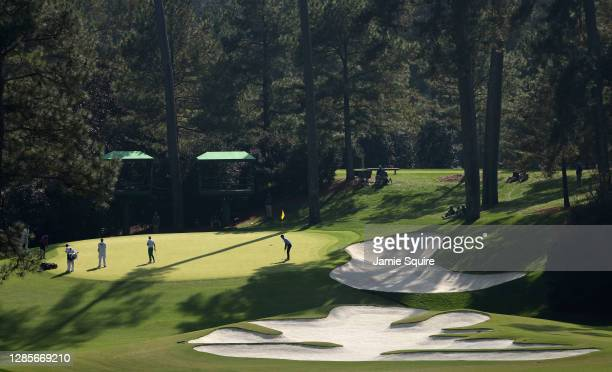 General view as Billy Horschel of the United States putts on the 10th green during the third round of the Masters at Augusta National Golf Club on...