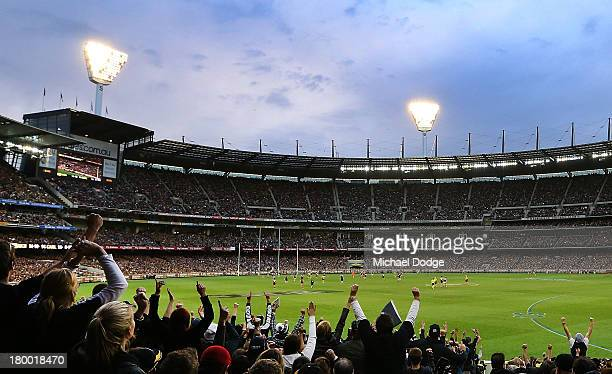 A general view as Blues fans celebrate a goal during the First Elimination Final AFL match between the Richmond Tigers and the Carlton Blues at...
